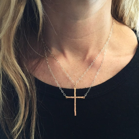 "Original ""Be Still""™ two-piece Cross Necklace in Sterling Silver & Bronze"