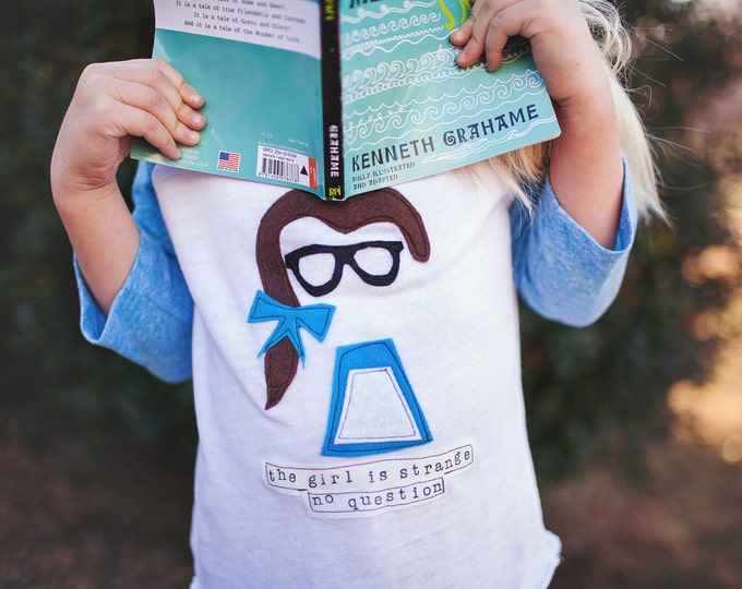 "Swanky Shank Girl Peasant Belle Inspired Nerd Tee ""The Girl is Strange No Question"""