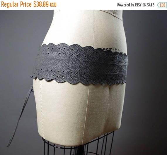 SUMMER SALE Vegan Leather Obi Belt - Gray Leather Obi Belt - Women's Wrap Belt - Up-cycled Obi Belt - Boho