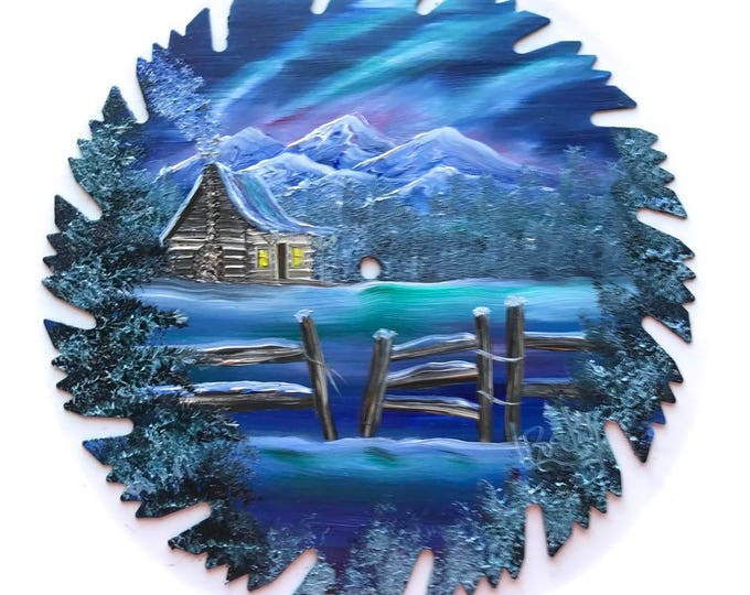 Hand Painted Saw Blade Mountain Log Cabin Winter Blue Fence Northern Lights Scenery