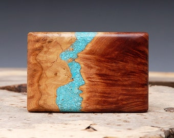 Exotic Wood and Turquoise Inlaid Belt Buckle - Handmade