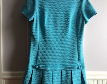 Women's Vintage Clothing / 1960's Turquoise Polyester Dress /