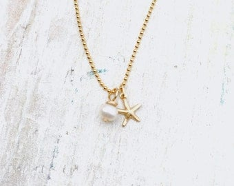 Pearl & Starfish Charm Necklace - Island Love Jewelry Collection by ZEN by Karen Moore