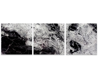 Black Metal Art 'Storm Black Triptych' by Emley - Abstract Artwork Expressionist Wall Art on Metal or Acrylic