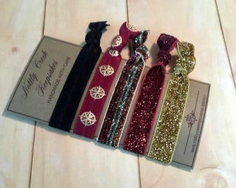 Glitter Hair Band Set / Gold Hair Tie / Burgundy Glitter FOE / Burgundy & Gold Design Hair Elastic Set of 5 / Ponytail Holder