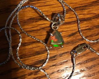 DELICATE Ethiopian Welo Opal  Pendent and Chain