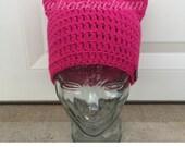 Kitty cat hat, pussycat hat, pink, adult crochet hat