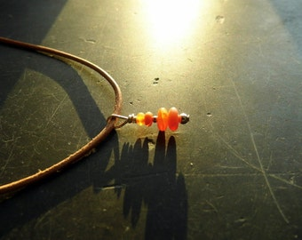 Trailer, Carin, leather strap, fire opal, silver, jewelry, Red