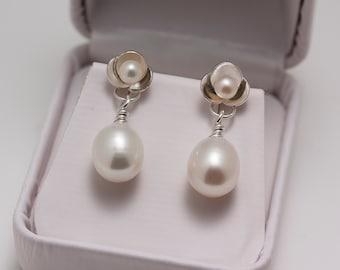 Sterling Oval Pearl Drop Post Earrings