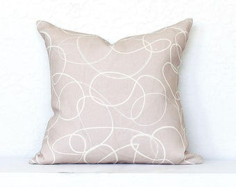 Squiggle Lines Linen Pillow Cover - Pale Pink Combo