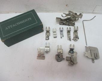 Vintage Metal Greist Attachments In Original Box Ruffler, 4 Hemmers, Binder - 11 Pieces