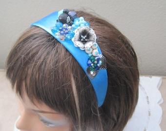 Hand Designed Embellished Headband, Turquoise, Black, White Handmade, Vintage Jewelry Assemblage