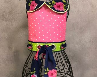 SPRING:  Polka Dot - Floral Scarf Accent Dog Harness