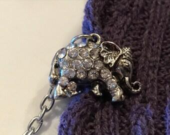 Sweater Clips: Silver Rhinestone Elephants