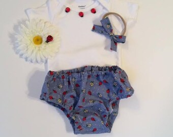Ladybug Diaper Cover Set with Hair Bow, Ladybug Set, Diaper Cover Set, Baby Ladybug Set