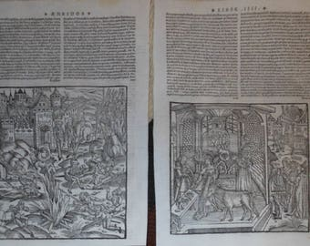 two vintage medieval leber pages 16th century