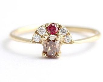 Champagne Diamond Engagement Ring - Alternative Engagement Ring - Brown Diamond Ring
