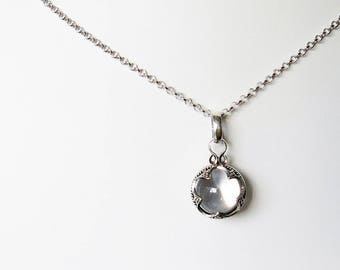 Sterling silver clear rock crystal ball pendant necklace