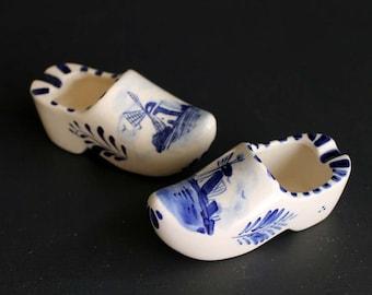 Vintage Delft Blue Hand Painted Ash Tray Set Holland Windmill Scene on Wood Shoe Shape