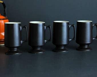Vintage Hall Pottery Coffee Footed Mug Set Of 4 Chocolate Brown And Cream 1873