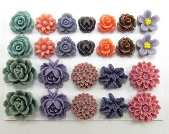 24 pcs Resin Flower Cabochons Assorted Sizes Sampler Pack - Fall Memories (version 3)