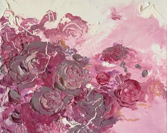 Hello by Tania Qurashi - Original Abstract Oil Painting with Roses