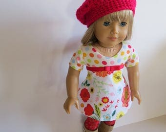 "Made To Fit Like American Girl Doll Clothes; 18"" Doll Lace Tights with Cotton Knit Dress; Dress for American Girl Doll"