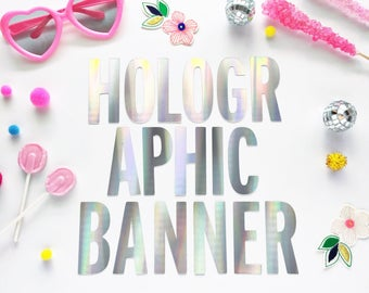Holographic Banner/ Iridescent Banner/ Custom Banner/ Party Banner/ Wedding Banner/ Birthday Banner