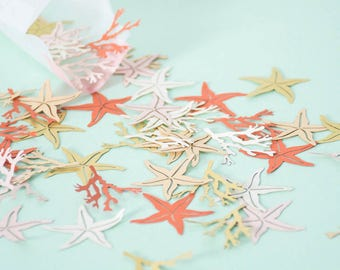Starfish and Coral Confetti - Mermaid Confetti - Wedding Confetti - Table Confetti - Under the Sea Party - Beach Wedding - Wedding Decor