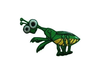 ID 0395 Happy Praying Mantis Patch Bug Insect Life Craft Iron On Badge Applique