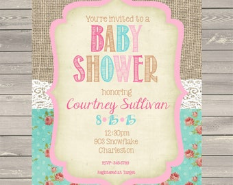 Shabby Chic Lace Burlap Chalkboard Baby Shower Invitations - Invites-ANY COLORS-printable or digital file-DIY