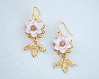 Kate Statement Earrings in White Magnolia and Brass Leaves. White Magnolia Bridal Earrings