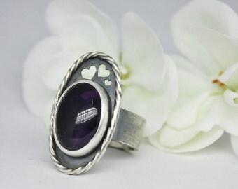 AMETHYST SILVER RING. Sterling Silver Amethyst Ring.February Birthstone.Purple Amethyst Engagement Ring.Purple Stone Ring. Hearts.