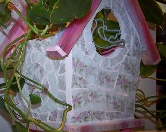 Pink Mosaic Birdhouse plant holder