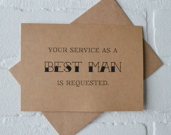 Your service is requested as a groomsman Will you be my best man groomsmanCard Funny wedding party best man groomsman Invitation card