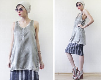 Vintage taupe grey minimalist silk cotton blouse tank top M L