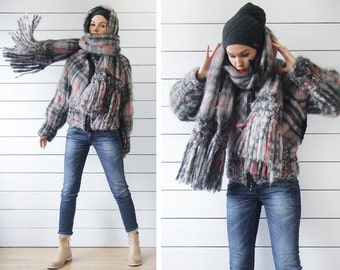 Vintage grey plaid wool mohair silk lined chunky knit warm winter short jacket coat oversized scarf two piece set