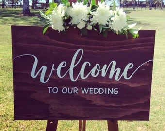 Rustic Wedding Welcome Sign – large 600 x 900mm, custom made, wooden, timber, hand painted, elegant, white, custom design, script, walnut