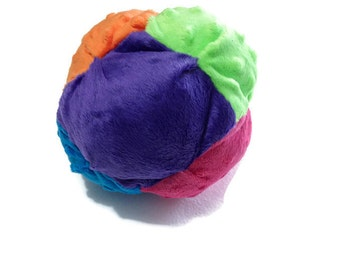 Plush Toy Bisket Ball for Babies or Toddlers with Rattle or Jinglebells inside - Soft Toy - Multicolored Ball - Ready to Ship
