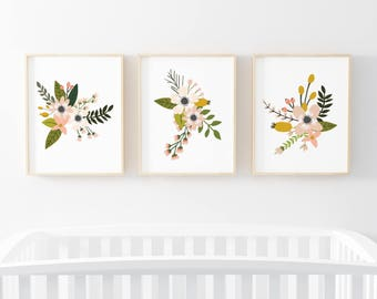 Blush Sprigs and Blooms 3 Bundle Nursery Art. Nursery Wall Art. Nursery Prints. Nursery Decor. Girl Wall Art. Floral Art. Instant Download.