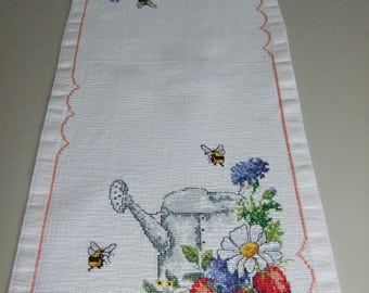 Vintage Swedish hand embroidered white oblong tablecloth - bees , flowers and ewer in cross stitch