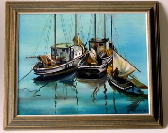 1973 V Clark Oil Painting Original Canvas Framed 24x20 Seascape Three Boats Signed Dated Commercial Fishing Shrimp Gulf 70s Art Marine Blues