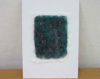 ABSTRACT TEXTILE ART picture.  Hand made dark turquoise felt, machine embroidery and beads