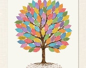 "80th Birthday Gift Idea - ""Leaf"" A Note on the Birthday Tree -Guest Book Alternative"