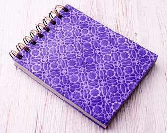 Small spiral notebook purple embossed / recycled notebook / blank notebook / pocket notebook / purple notebook / sketchbook / purple notepad