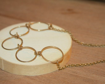 Circle Necklace, Family Circle Necklace, Gift for her, Linked Circle necklace, Holiday Gift for her