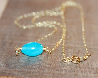 Teal Necklace, Tiny Teal Agate Necklace, Delicate Gold Necklace, Teal Layering Necklace, 14k Gold Filled Chain Necklace, Gifts for Her
