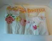 Half apron embellished with pink vintage trims for crafters vendors gifts