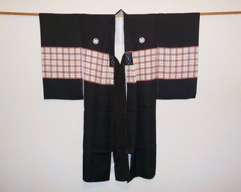 SALE 50%off!! - Vintage kimono for boy - Plaid, Five crests of crossing leafs
