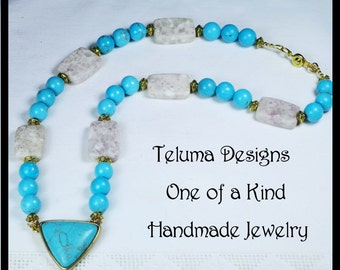 Howlite and Feldspar Necklace. Blue and White Gemstones.  Brass setting. Gold Metal Beads and clasp. Handmade, OOAK Jewelry.  Ethnic style.